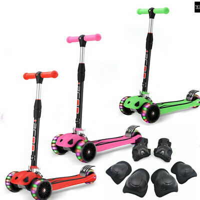Kids Child Kick Push Scooter 3 Wheels LED Flashing Tilt Lean Boys Girls Scooter  • 27.99£