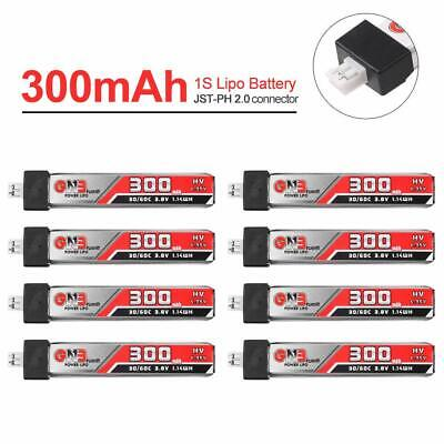 8x 300mAh 3.8V 30C 1S LiHv LiPo Battery JST-PH 2.0 Plug For Mobula 7 US65 UK65  • 17.98£