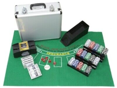 Quality Combine Poker/Blackjack Set With 600 Laser Chips Aluminium (UK) • 95£