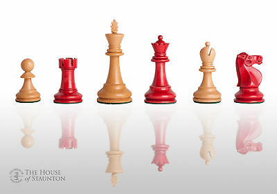 The Reykjavik II Chess Set - Pieces Only - 3.75  King - Red Gilded • 165.21£