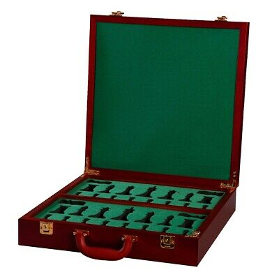 Fitted Briefcase Chess Box In Red Burl - No Logo • 180.23£