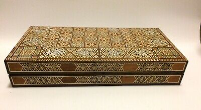 Vintage Middle Eastern Mosaic Work Large Back Gammon &Chess Board Box • 150£