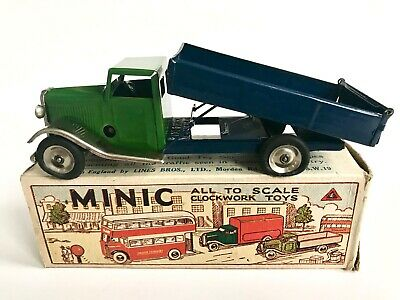 Triang Minic Tip Lorry 23M Blue/Green With Lovely Original Box + Key Tinplate • 50£