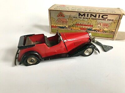 Triang Minic Vauxhall Tourer 17M Red With Original Box And  Key Tinplate • 40£