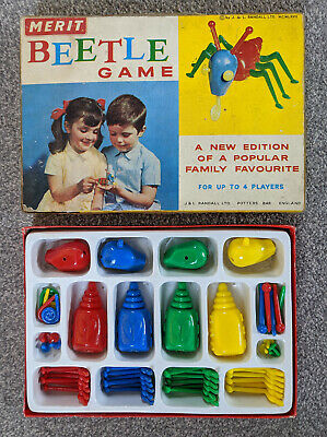 Vintage Game By MERIT - Beetle Game (1967) - Original Box - All Pieces And Dice • 4.50£