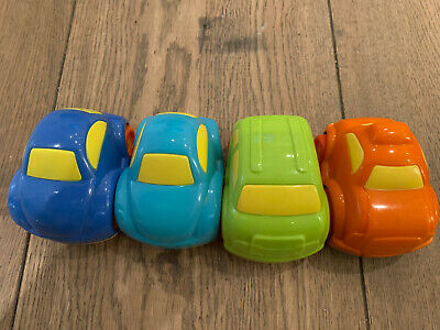 Set Of 4 Bright, Chunky Plastic Cars, Good Condition • 1£