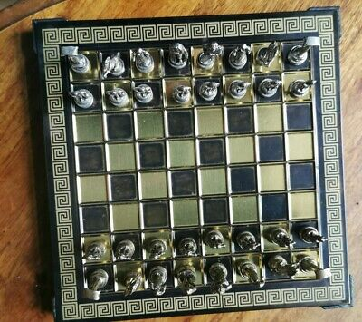 Greek Metal Hercules Chess Set And Board. Hellenic Handicraft Small • 16£