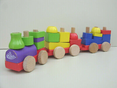 Early Learning Toddlers Kids Wooden Building Blocks Push Along Train Carriages  • 7.75£