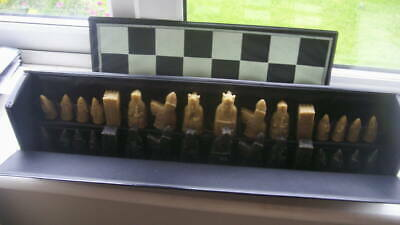 Classic Full Size Travel Chess Set / Board In Case  Good / Fine Resin? Look • 10£