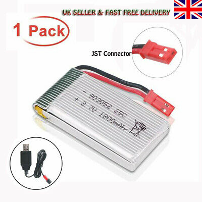 3.7V 1800mAh 25C Lipo Battery JST Plug W/ USB Charger For RC Drone Quadcopter • 7.59£
