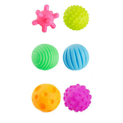 6 Piece First Baby Ball Set Baby Hand Massage Multi Textured Sensory Soft Balls • 4.99£