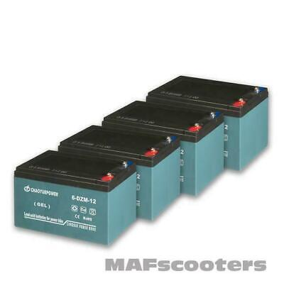 4 X 12 Volt 12 Ah Battery Electric E Scooter Equad MAF Evolution Xreme 48volt • 134.99£
