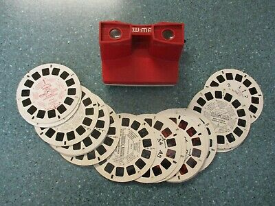 GAF VIEWMASTER STEREO VIEWER RED MODEL 1970's TOY PLUS 20 REELS • 10.44£