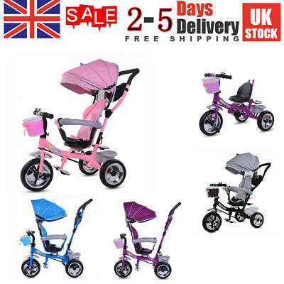 4-in-1 Baby Tricycle Stroller Folding Kids Trike Detachable W/ Canopy • 69.90£