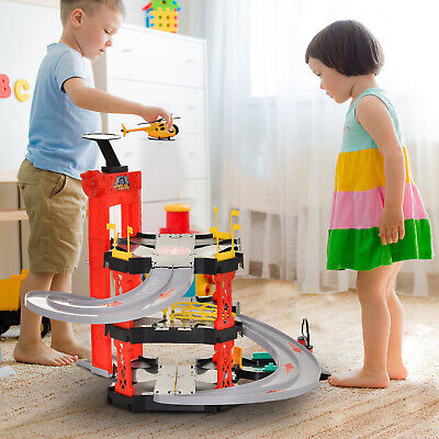 Kids Parking Play Set W/ 3-Level Garage Cars Helicopter Elevator Accessories • 27.99£