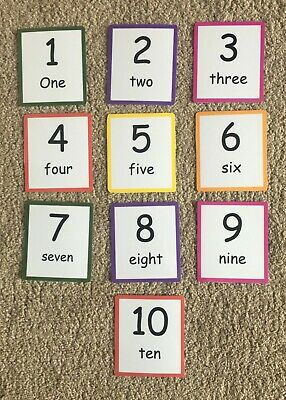 1 To 10 Number Laminated Flashcards Reception Learning, Recognise Numbers • 2.75£