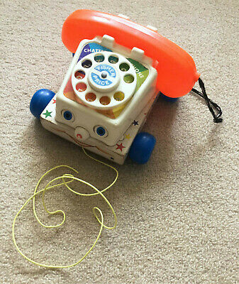 Vintage 1960s Wooden Fisher Price Chatter Telephone Great Condition! • 12£