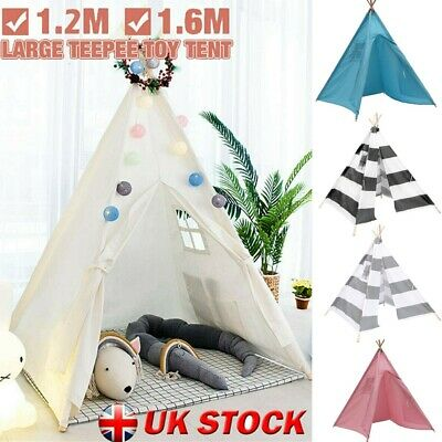Cotton Canvas Kids Teepee Indian Tent Childrens Wigwam Indoor Outdoor Play House • 19.93£