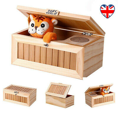 Wooden Useless Box Leave Me Alone Box Don't Touch Tiger Toy Gift With Sound UK • 21.49£