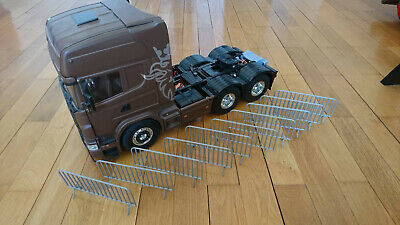 Set Of 10 Security Barriers RC Truck 1/14, 1:14 Tamiya Trailer Loading Accessory • 22.13£