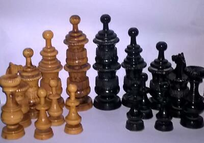VERY LARGE AND VERY ORNATE WOODEN CHESS SET COMPLETE K 130 X 39mm {Poss Mexican} • 14.99£