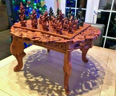 Unique Solid Wood Large Chess Set  Collection Only • 250£