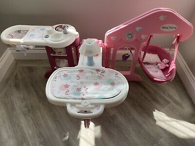 Smoby Baby Nursery Dolls Set - High Chair / Kitchen/ Changing Mat • 0.01£