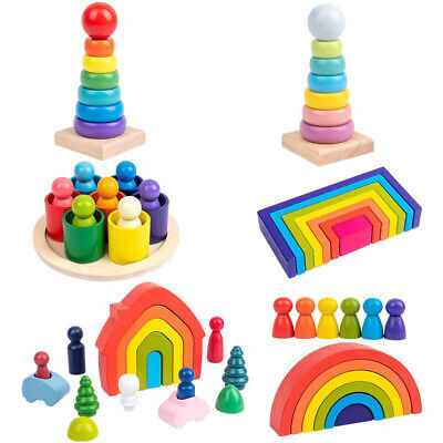 Wooden Rainbow Building Stacking Blocks Baby Toddler Educational Montessori Toy • 8.97£