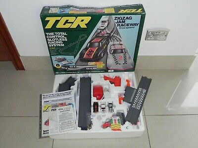 (C) RARE Ideal Lighted TCR Zig Zag Jam Race Set  - Restored And Ready To Race  • 85£
