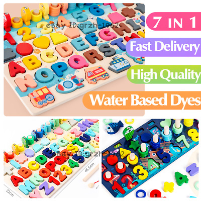 Children Jigsaw Wooden Puzzle Math Number Learning Fishing Kids Education Toys  • 15.98£