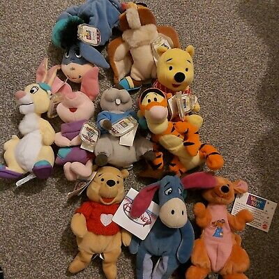 1998 Winnie The Pooh Small Soft Beanies Bundle With Tags Vintage Disney • 5£