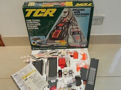 (D) RARE Ideal Lighted TCR Zig Zag Jam Race Set  - Restored And Ready To Race  • 85£