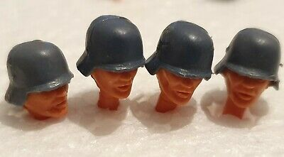 Vintage Timpo Toys German Soldier Heads & Helmets X 4 • 4£