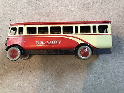 Chad Valley, Scarce Single Deck Tin Plate, Red & Cream Bus/coach • 225£
