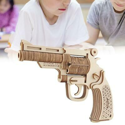 Kids Pistol Toy Model 3D Wooden Puzzle DIY Mechanical Toys Gun Assembly Kit Gift • 7.11£