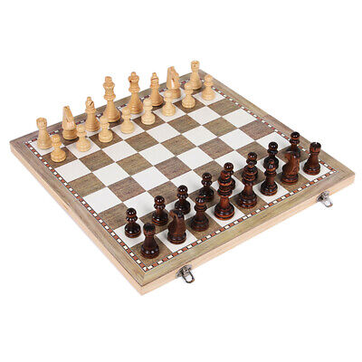 3in1 Large FOLDING WOODEN CHESS SET Board Game Checkers Backgammon Draughts Toy • 25.86£