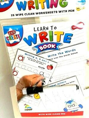 Learn To Write Dotted Alphabets Wipe Clean Worksheet Book With Pen Kids Learning • 2.59£