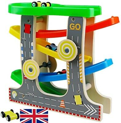 Toy Nuheby Wooden Car Ramps Click Clack Track Cars Toys Garage Wooden Racetrack • 12.99£