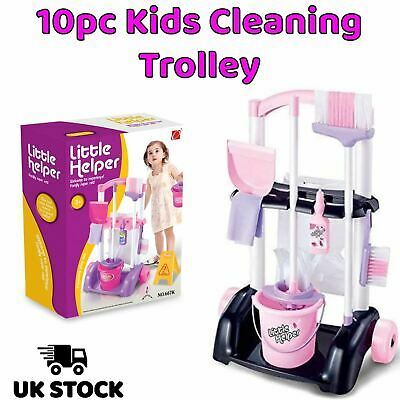 Kids Cleaning Trolley Set 10pc Pink & Black Childs Children Toy Broom Mop Brush • 14.79£