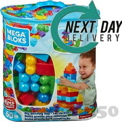 Mega Bloks First Builders Big Building Blue Bag - Toy Blocks Gift - 60 Pieces • 13.99£