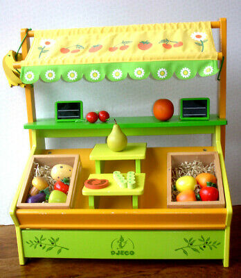 DJECO Wooden Market Stall Shop Play Set Realistic Food Fruit Vegetables Kids Toy • 64.99£