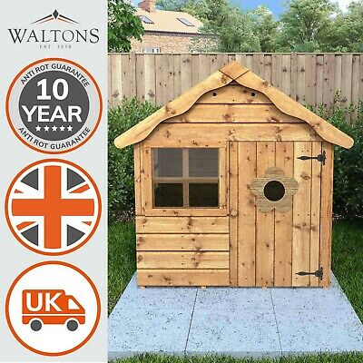 Wooden Children's Playhouse 4x4 Outdoor Wendy House Den Apex Roof Windows 4ft4ft • 229.99£
