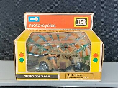 Vintage Britains Afrika Korps Motorcycle Combination #9693...deetail...Boxed... • 29£
