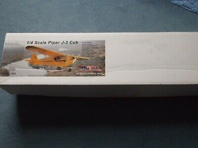 R/c Model Plane Kit 1/4 Scale Piper Cub Balsa USA • 100£