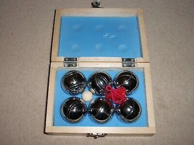 Small 6 Metal Boules Set In Wooden Box - Brand New • 4.99£