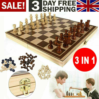 3in1 FOLDING WOODEN CHESS SET Board Game Checkers Backgammon Draughts Large UK • 16.89£
