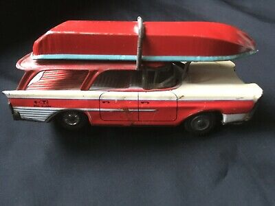 Vintage Tin Plate Toy Car And Boat • 23£
