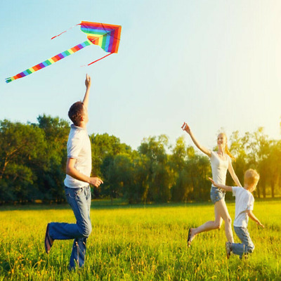 1P Colorful Rainbow Kite Long Tail Outdoor Kites Flying Toy For Kids Children UK • 5.99£