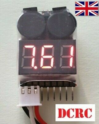 RC Lipo Battery Low Voltage Alarm 1S-8S Buzzer Indicator Checker Tester UK Fast • 3.69£