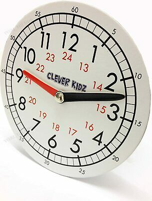 Children Teaching Clock Learning To Tell Time Magnetic Back Educational Clock • 3.45£